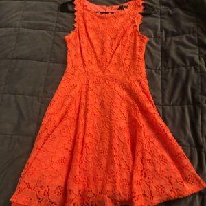 Coral high neck dress